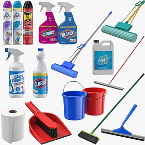 3D Cleaning Supplies And Tools Collection
