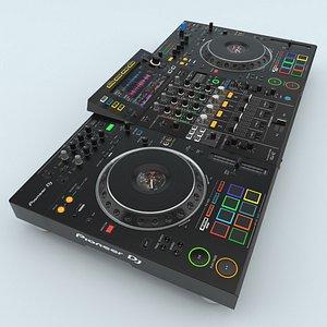 3D model Professional DJ system Black Pioneer XDJ-XZ