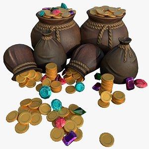 3D model bags gold piles