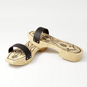 3D clog wood wooden model