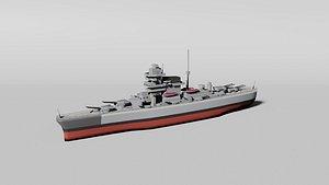 3D model German WW2 battleship