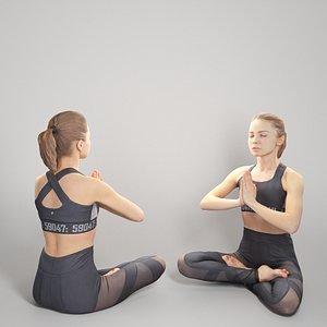 Woman in lotus pose 298 3D model