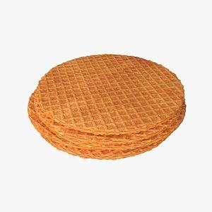 3D Caramel waffle model
