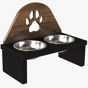 3D Wooden  Paw Pet Bowl