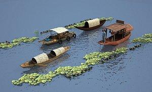 Lotus boat, raft, ferry, lake 3D model