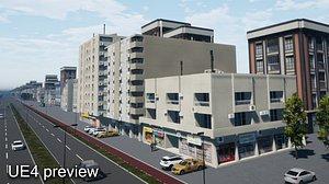3D model Arab style 3 Buildings Set