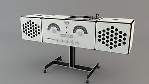 3D radio turntable stereo vintage model