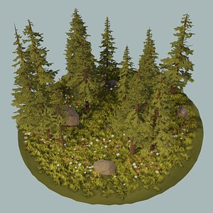 assets pack trees flowers 3D model