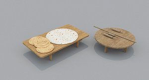 Medieval Dough Bread Set 3D model