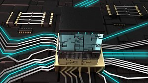 3D Chip CPU processor technology chip energy block data current data flow electronic flow future scienc