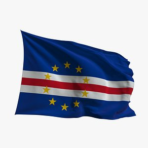 3D Realistic Animated Flag - Microtexture Rigged - Put your own texture - Def Cape Verde model
