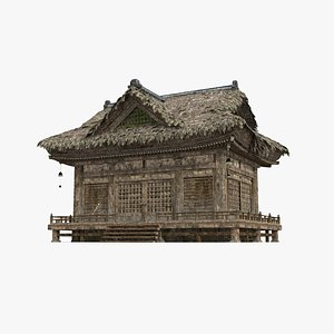 3D A thatched palace in ancient Asia