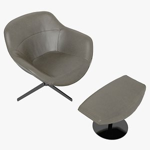 3D Cassina 277-22 Auckland Arm Chair and 277-42 Auckland Ottoman Brown Leather Black Body model