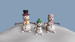3D snow snowman family