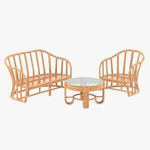 Vintage Rattan Furniture Set model