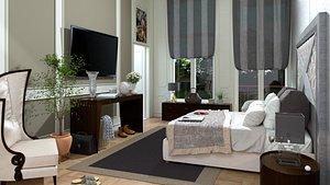 3D model bedroom room bed