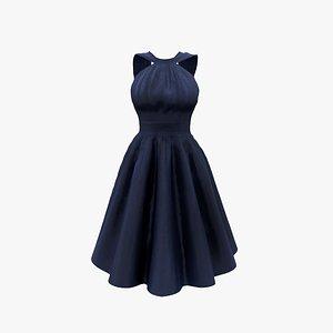 3D Retro Halter Dress V2