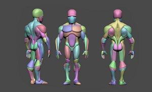 3D model male anatomy blockout