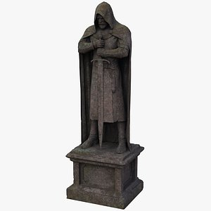 3D Ancient Granite Knight Statue - PBR model