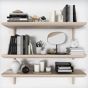 shelves lisabo ikea decorative 3D model