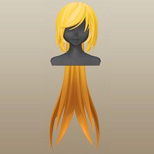 3D model hair girl anime