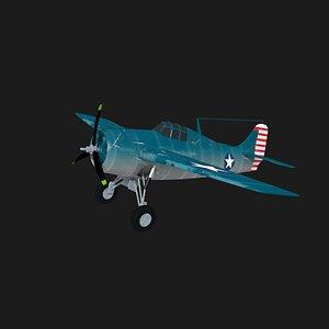 3D f4f wildcat fighter plane