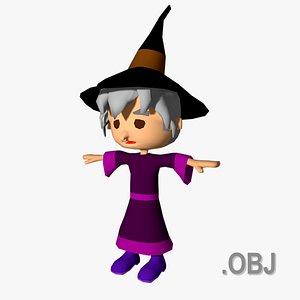 3D model Witch - OBJ - Low Poly Quad