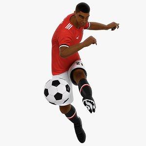 3D Black Soccer Player Animated HQ model