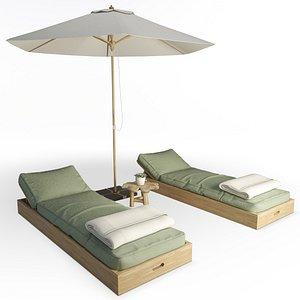 Wooden Sunbeds Set AtelierS 3D model