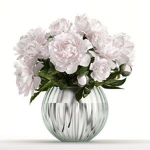 Peony in round vase 3D