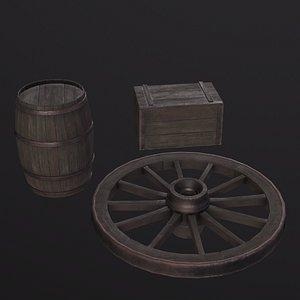 3D medieval asset barrel model