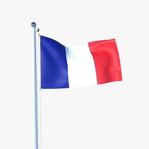 3D Animated Flag of France model