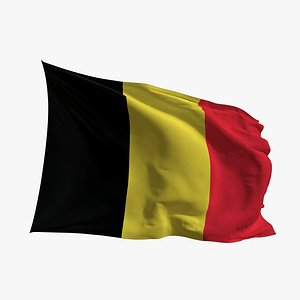 Realistic Animated Flag - Microtexture Rigged - Put your own texture - Def Belgium 3D model
