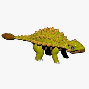 3D Ankylosaurus Cartoon Dinosaur