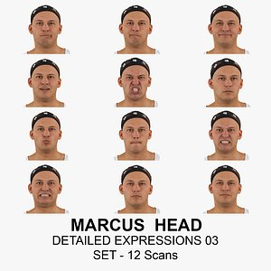 3D Marcus Real Head Detailed Expressions 03 Set 12 RAW Scans Collection