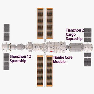 Chinese Space Station Tiangong 3D model