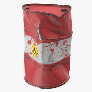 3D heavy damaged crude oil barrel model