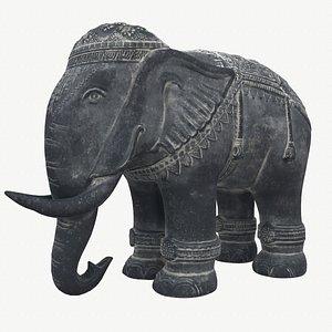 Stone Elephant Statue 3D model