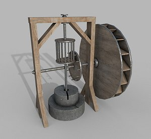 3D Medieval Wooden Grinding Water Mill
