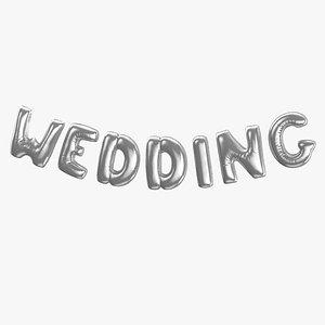 3D Foil Baloon Words WEDDING Silver