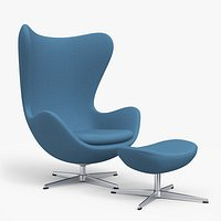 Egg Lounge Chair Fabric Blue