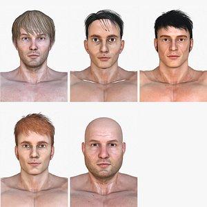 5 characters 3D model