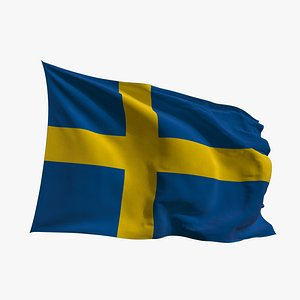 Realistic Animated Flag - Microtexture Rigged - Put your own texture - Def Sweden 3D model