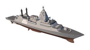 3D type 26 frigate model