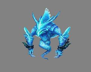 Cartoon summon monster - Water Elemental Spirit - Water Monster 3D model