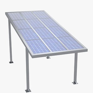 Parking shelter with solar panels 3D model