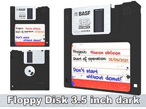 3D model Floppy Disk 3 5 inch dark
