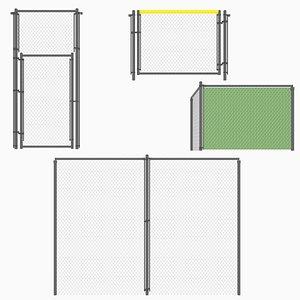 3D modular chain link fences model