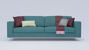 3D model Modern Teal Comfortable Sofa with Accessories
