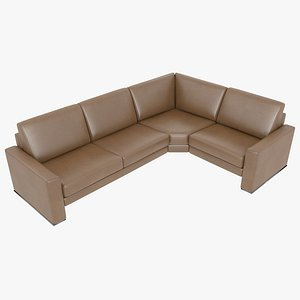 3D modular sofa leather brown